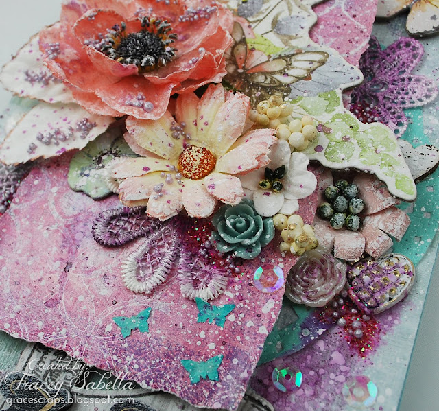 Mixed Media Wedding Card and Tag, Gel Press, Prima Flowers, BoBunny Butterfly Kisses, Petaloo, Prills