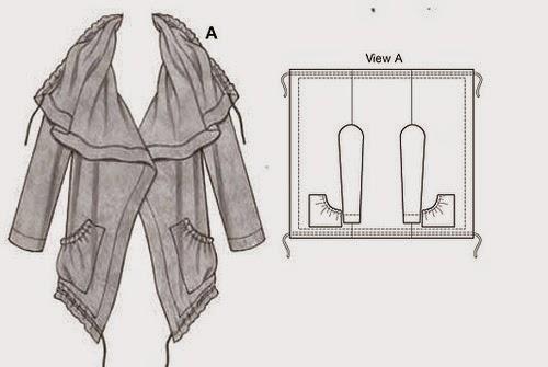 patrón abrigo con un rectángulo de tela