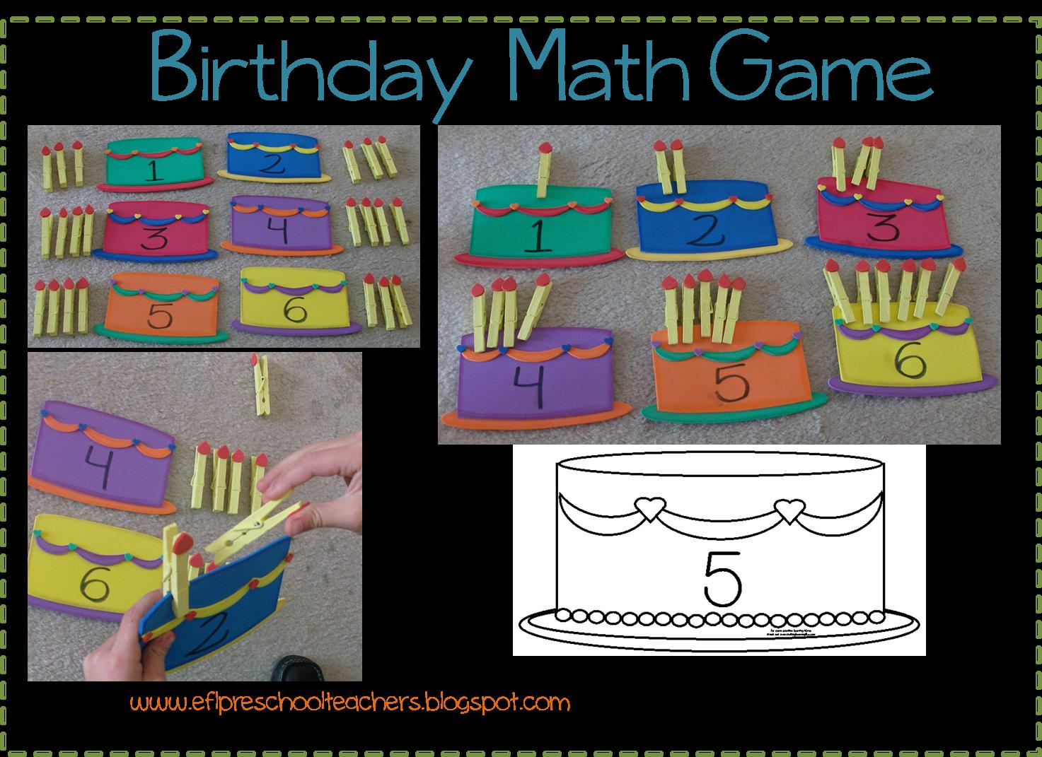 Esl Efl Preschool Teachers Birthday Theme
