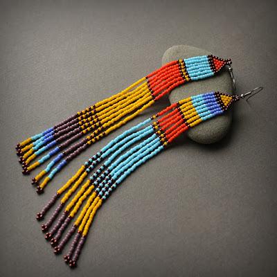 очень длинные разноцветные серьги до плеч в африканском стиле украшения бисер