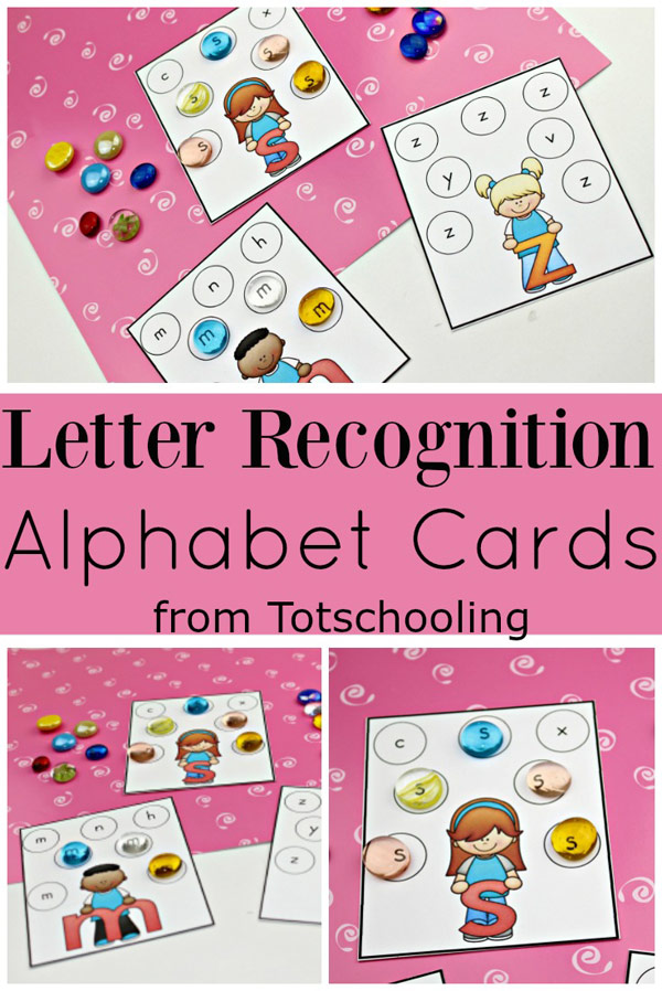 FREE printable ABC cards for preschool, pre-k and kindergarten kids to practice their letter recognition skills in a fun, hands-on way! Great for year-round alphabet fun!
