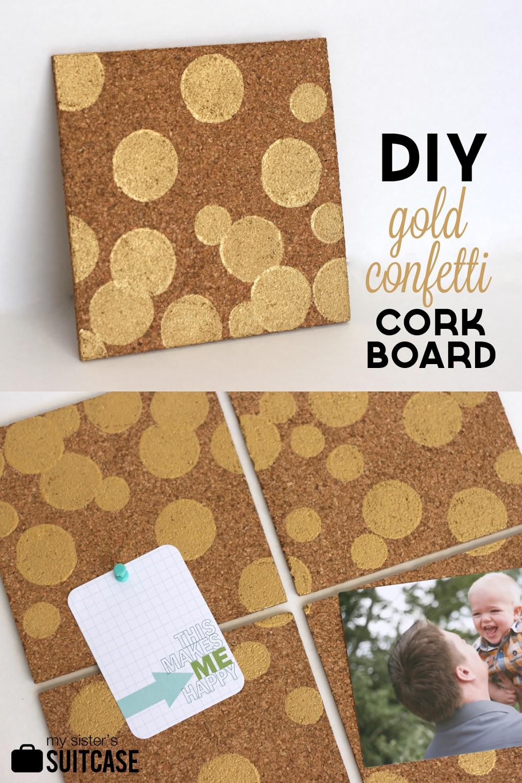 DIY Gold Confetti Cork Board - My Sister's Suitcase ...