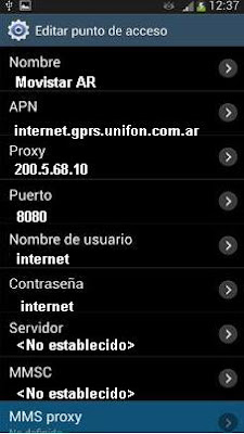 Configurar APN de MOVISTAR Argentina en Android