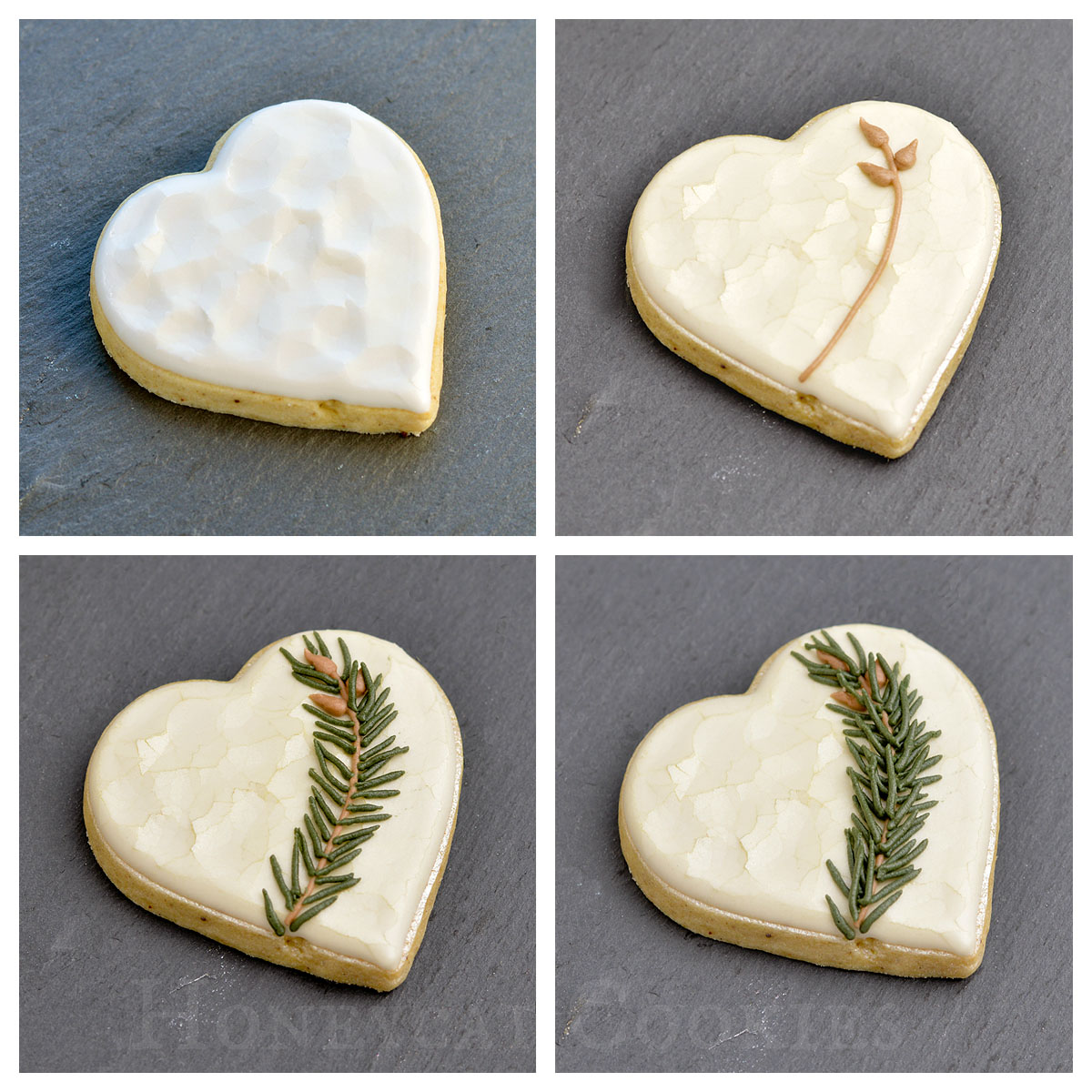 Adding royal icing spruce sprig to Valentine's Day cookie, photo by Honeycat Cookies