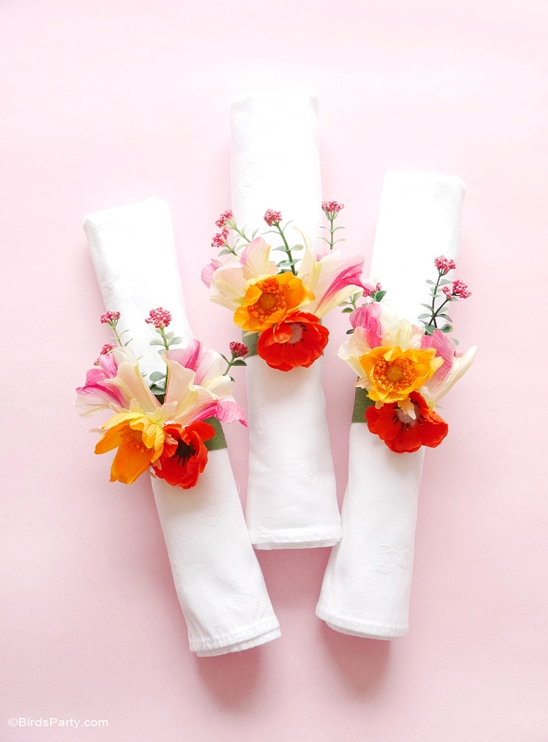 Diy floral napkin rings party ideas party printables blog quick easy diy floral napkin rings birdsparty mightylinksfo