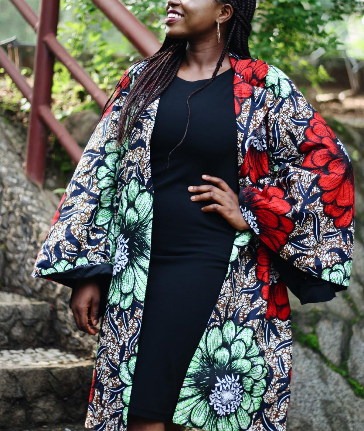 Princess Audu in a made in Nigeria ankara dress