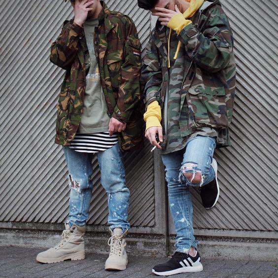 Moda Masculina Inverno 2017 jaquetas camufladas