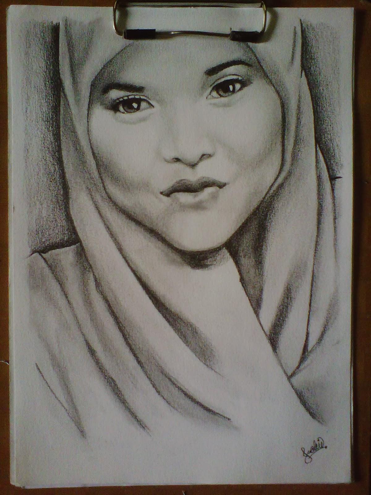 Gambar Sketsa Wajah Perempuan Berjilbab