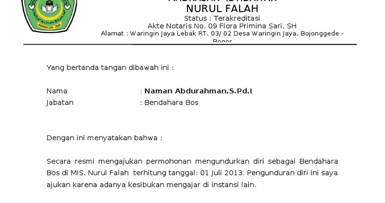 Contoh Surat Pengunduran Diri Dari Pengurus Rt - Bagikan ...