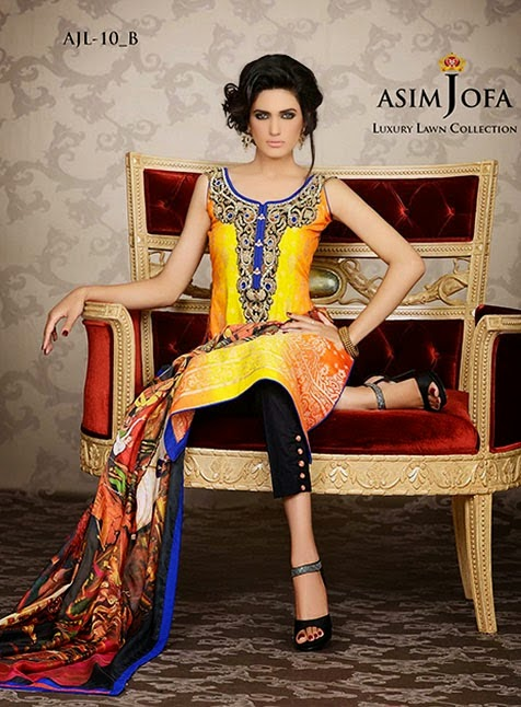 Asim-Jofa Embroidered Stylish Lawn Collection 2014-2015 For Women fashiowearstyle.com