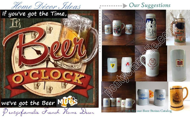 Traditional Old Style Oktoberfest. Retro Beer Tankard, Ceramic Beer Mugs with Pewter Lid, Vintage Lidded Steins.Barbotine, Hand Painted Porcelain, Ceramic, Faience, Glass with handle. European, French and German Beer Steins.