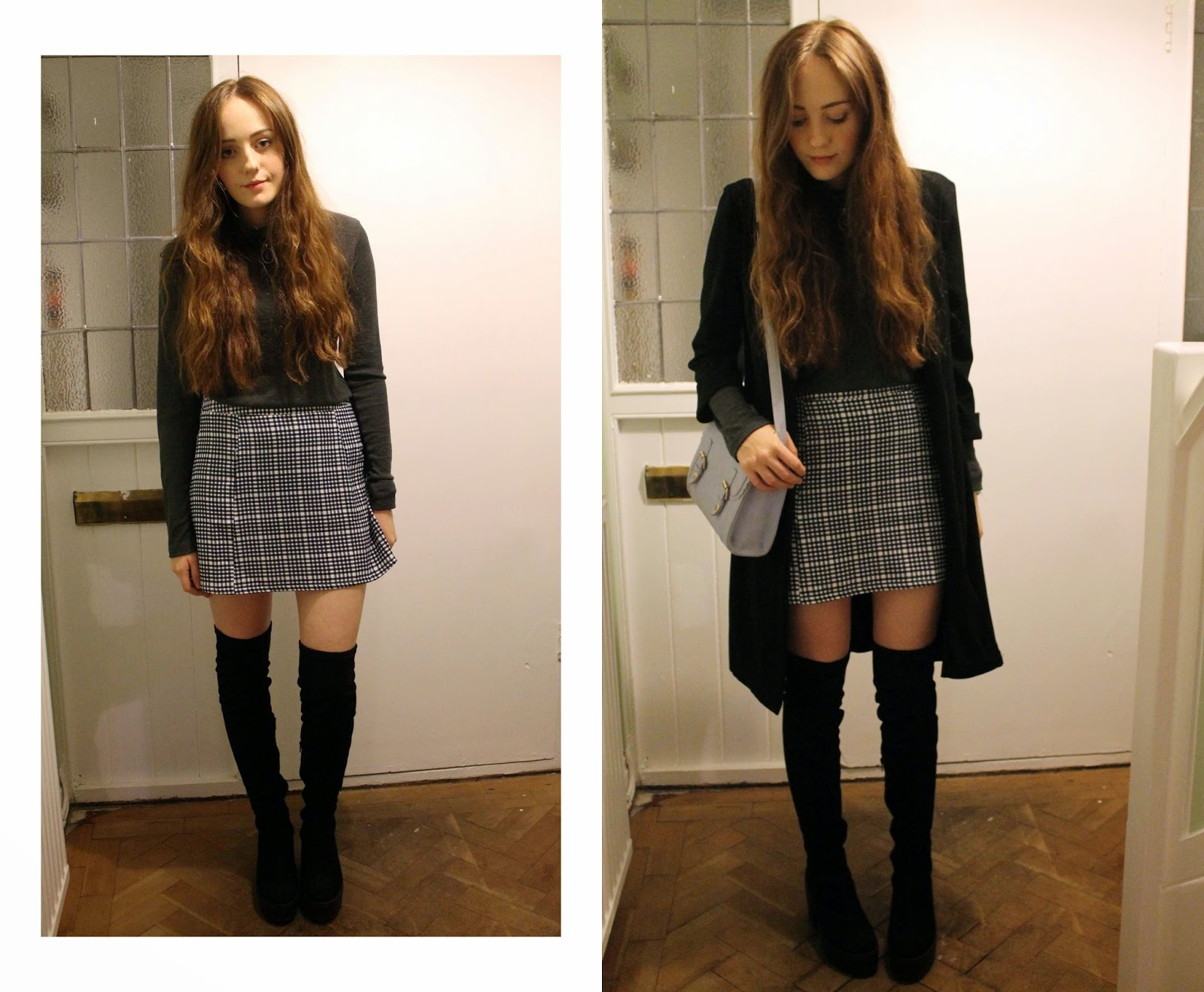 bank checked skirt, grey poloneck jumper from forever 21, primark black duster, asos pastel satchel and black river island over the knee boots
