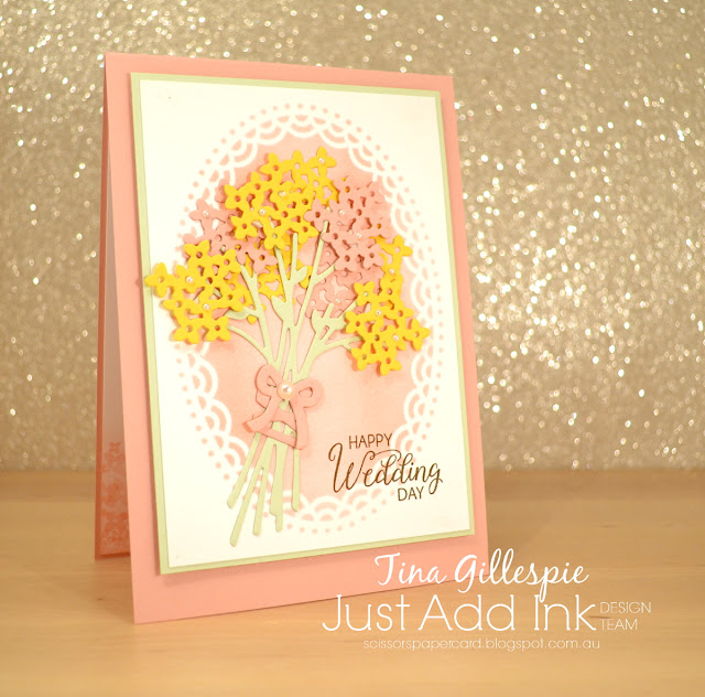 scissorspapercard, Stampin' Up!, Just Add Ink, Beautiful Bouquet, Bouquet Bunch Framelits, Delightfully Detailed LCP