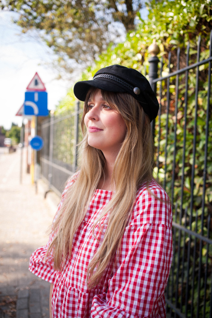 Outfit: gingham babydoll, fiddler cap