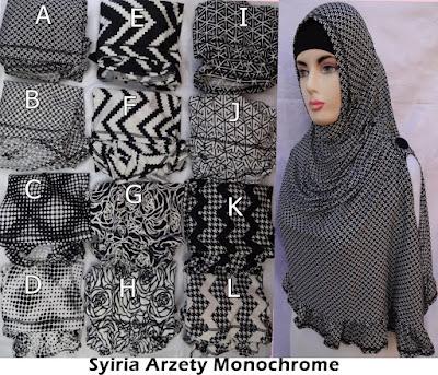 Grosir Jilbab Syiria Arzety Monochrome