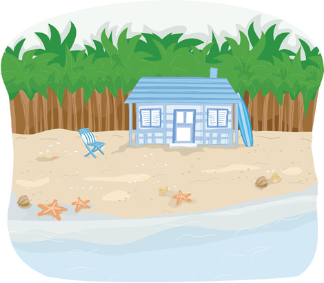 Clipart Image Of A Cottage At The Beach