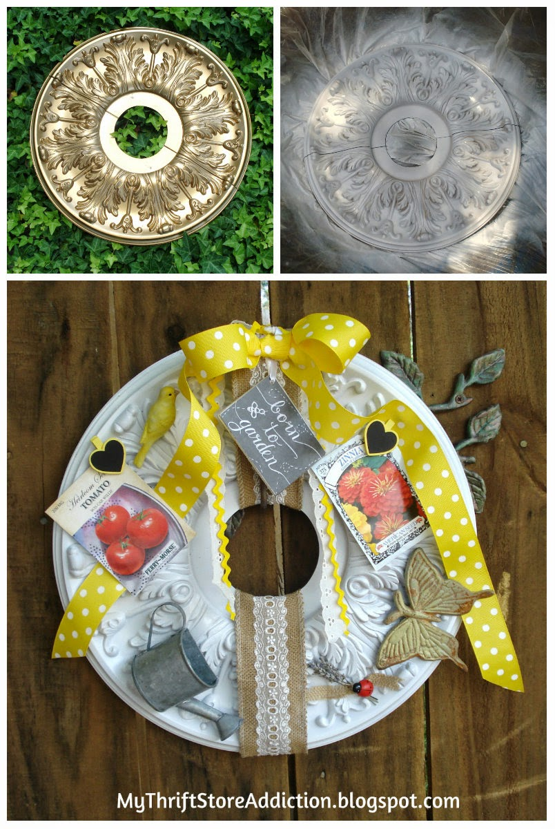 Repurposed ceiling medallion garden wreath