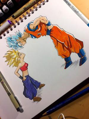 Dragon Ball Super Goku Super Sayajin Blue Caulifla Super Sayajin II