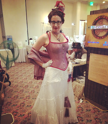 Gail Carriger Steampunk Fancy Pink at Gaslight Gathering in San Diego