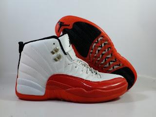 Jordan 12 White Red  Jual Sepatu Basket Replika Import Premium
