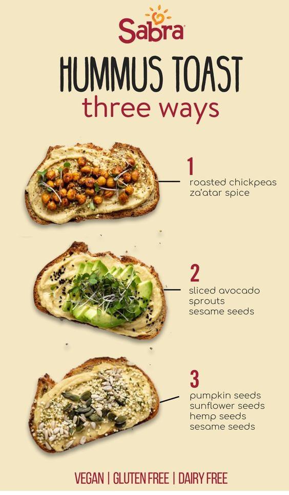 Hummus Toast 3 Ways