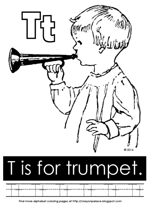 T is for trumpet alphabet coloring page crayon palace for Trumpet coloring page