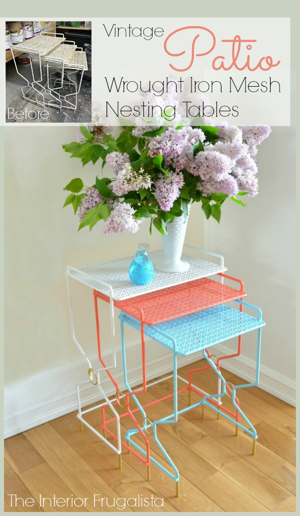 Vintage Patio Wrought Iron Mesh Nesting Tables Before and After