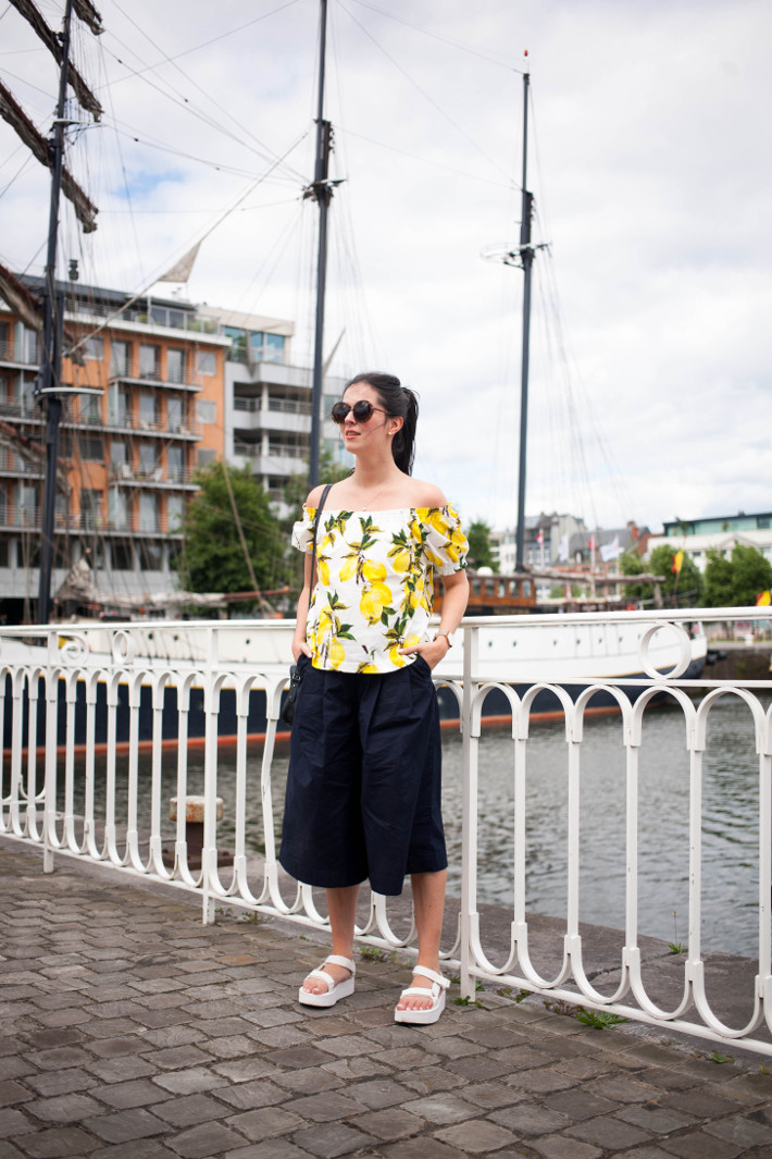 Outfit: lemon print off shoulder top, culottes, platform sandals