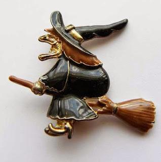 Enamel witch brooch