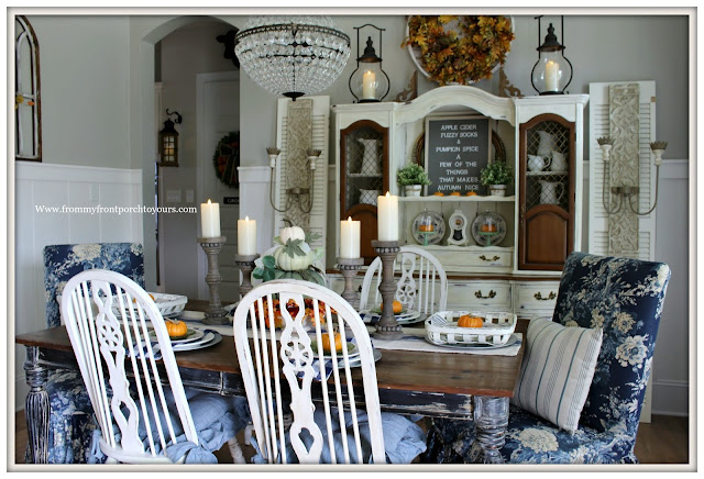 French Country Farmhouse Fall Dining Room-Fiddleback Chairs-Slip Covered Parson Chairs-From My Front Porch To Yours