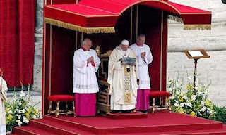 Pope Francis at ST peters Bones unveiling