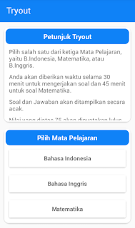 Screenshot Mobile CBT Mata Pelajaran