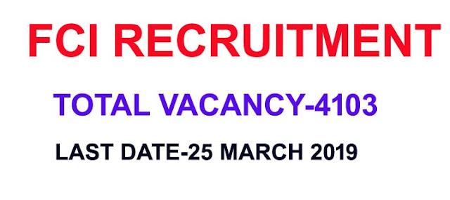 FCI recruitment 2019 online,FCI recruitment 2019 Assistant post