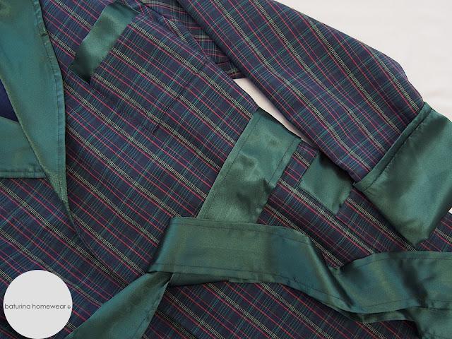 luxury warm men plaid flannel fleece smoking jacket dressing gown chamber cotton robe short blue plaid silk lapel traditional classic