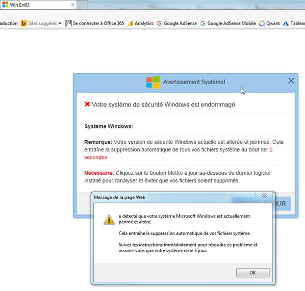 Votre système de sécurité Windows est endommagé !