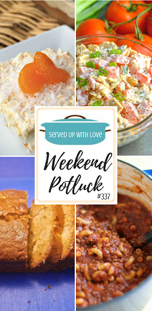 Tropical Orange Cake, Carrot Pineapple Quick Bread, Tomato Cracker Salad, and Easy One Pot Chili Mac are featured recipes at Weekend Potluck 337 at Served Up With Love.