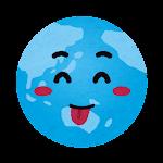地球のイラスト(照れた顔)