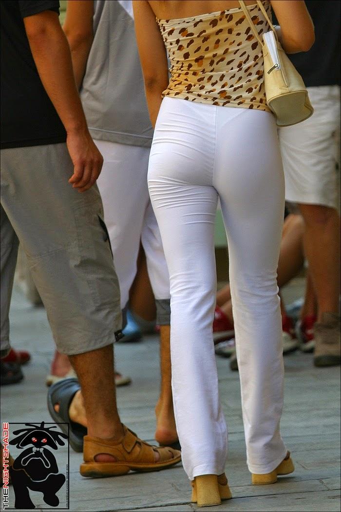Girl walking in yoga pants