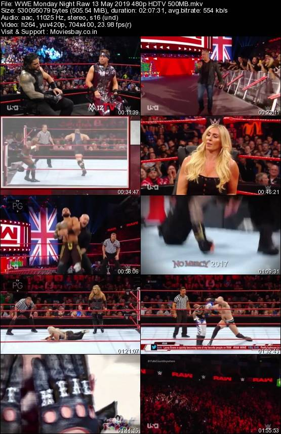 Screen Shoot of WWE Monday Night Raw 13 May 2019 480p HDTV 500MB