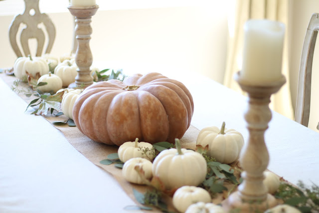 fall home tour tablescape pumpkins leaves wood candlesticks