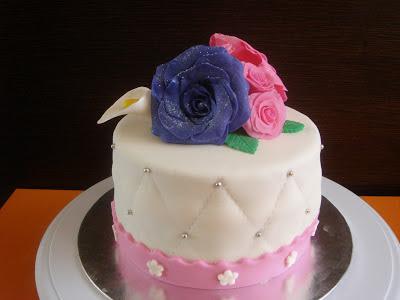 tarta fondant rosas