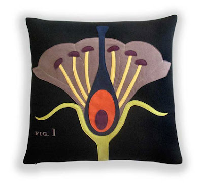 floral scientific diagram cushion
