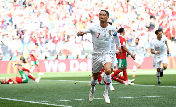 Cristiano Ronaldo celebrates after scoring against Morocco