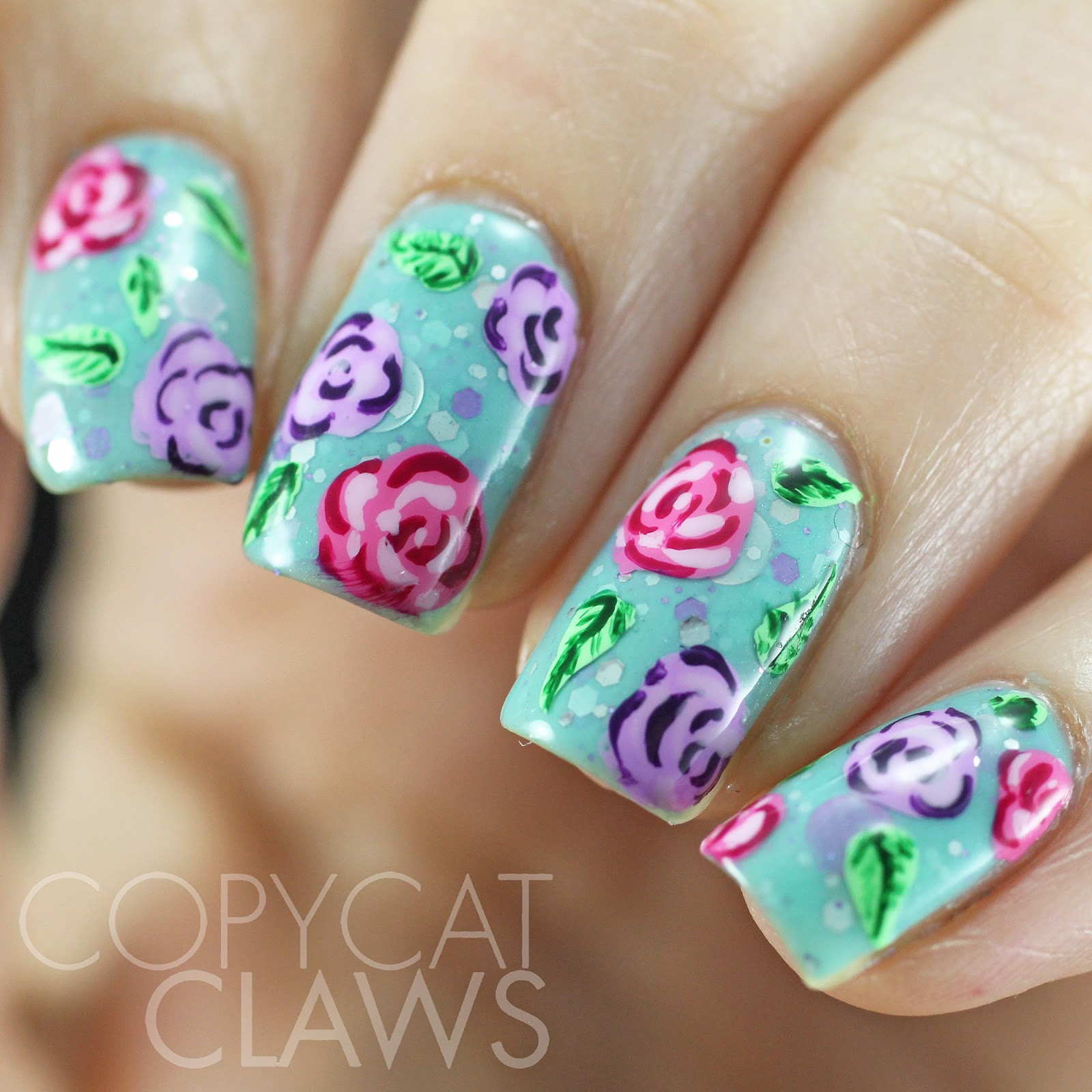 Copycat Claws: Pink and Lilac Rose Nail Art