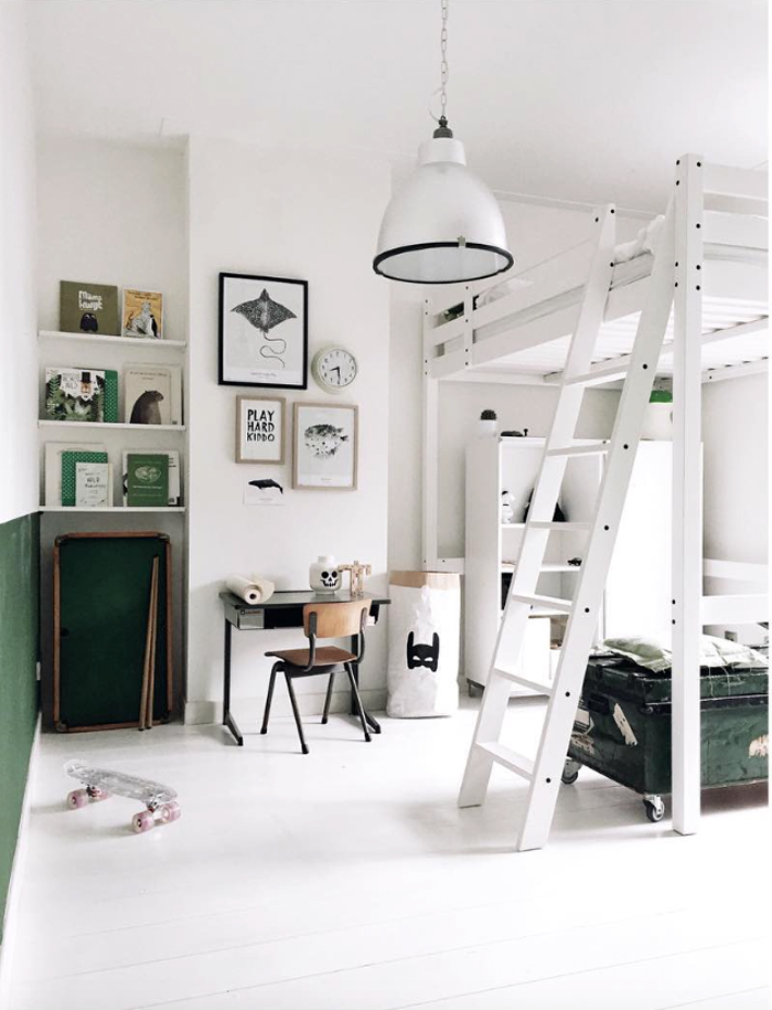 modern children room with green and white  from Maaike Koster artist/stylist house