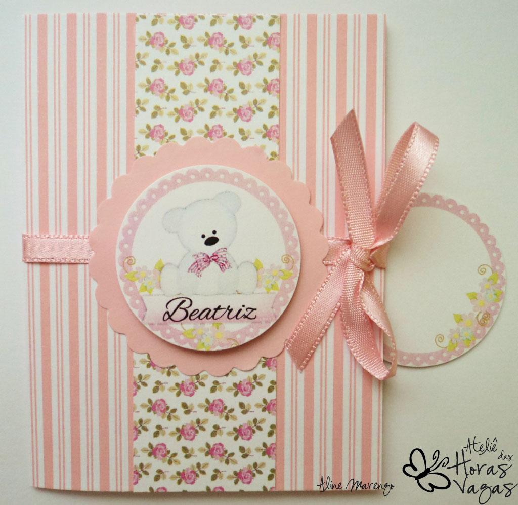convite artesanal infantil ursinho branco listra floral rosa 1 aninho