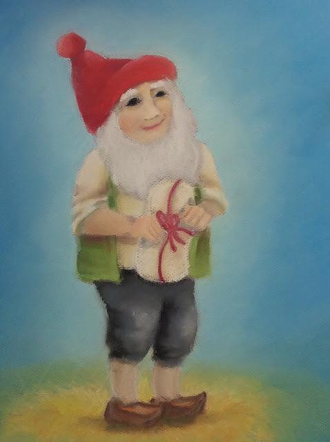 tonttu joulu pastelli maalaus