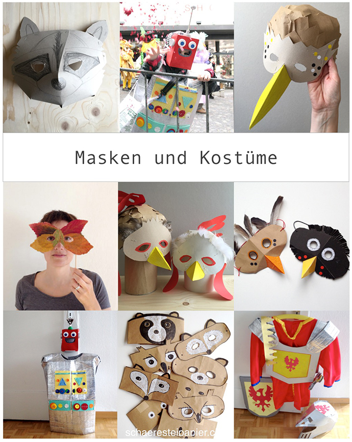 Schaeresteipapier Um Allerlei Vogelmasken Ritter Und Roboter
