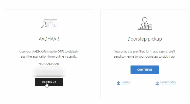 Choose Aadhar to sign online on equity and commodity
