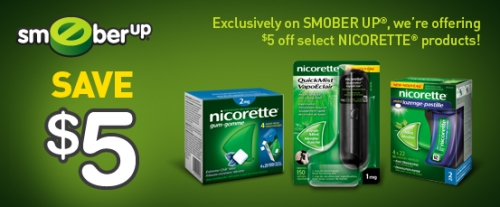 graphic about Nicorette Printable Coupon identified as Canadian Day-to-day Bargains: Canadian Discount coupons: Nicorette Help save $5